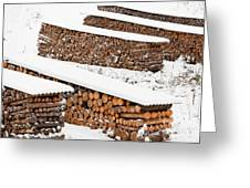 Renewable Heat Source Firewood Stacked In Winter Greeting Card