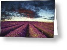 Renoir Style Digital Painting Vibrant Summer Sunset Over Lavender Field Landscape Greeting Card