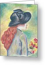 Renoirs' Painting Of Girl Holding A Bouquet In Pastels Greeting Card