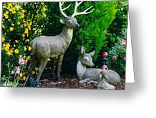 Replica Of Deer Family Greeting Card by Robert Bray