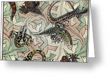 Reptiles - Inspired By Escher - Elena Yakubovich Greeting Card