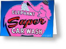 Elephant Super Car Wash Sign Seattle Washington Greeting Card