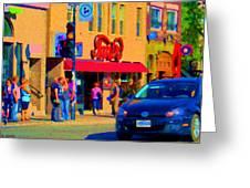 Restaurant Amir Internet Cafe Fast Food Plateau Montreal City Street Scene Art Carole Spandau  Greeting Card