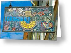 Restaurant Sign In Old Town Tallinn-estonia Greeting Card