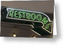Restrooms In Neon Greeting Card