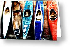 retired Kayaks Greeting Card by Rebecca Adams