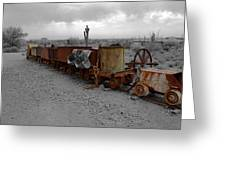 Retired Mining Ore Cars Greeting Card