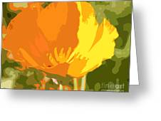 Retro Abstract Poppies 2 Greeting Card
