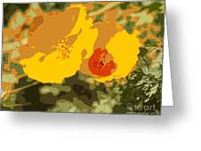 Retro Abstract Poppies 3 Greeting Card