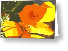 Retro Abstract Poppies Greeting Card