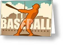 Retro Baseball Poster. Vector Greeting Card