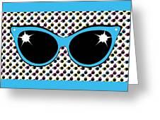 Retro Blue Cat Sunglasses Greeting Card
