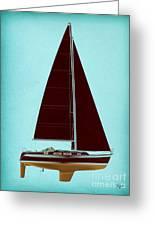 Retro Blue Sailing Greeting Card