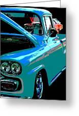 Retro Blue Truck Greeting Card