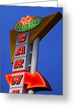 Retro Car Wash Sign Greeting Card by Norman Pogson