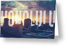 Retro Filtered Honolulu With Text Greeting Card