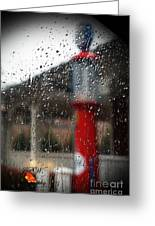 Retro Gas Pump On A Rainy Day Greeting Card