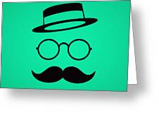 Retro Minimal Vintage Face With Moustache And Glasses Greeting Card