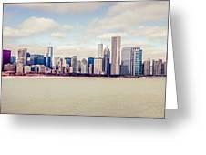 Retro Panorama Chicago Skyline Picture Greeting Card