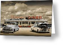 Retro Photo Of Historic Rosie's Diner With Vintage Automobiles Greeting Card