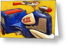 Retro Police Tricycle Greeting Card