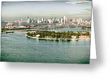 Retro Style Miami Skyline And Biscayne Bay Greeting Card