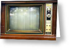 Retro Style Television Set With Bad Picture Greeting Card
