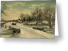 Retro Vintage Rural Winter Scene Greeting Card