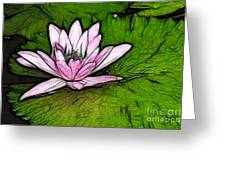 Retro Water Lilly Greeting Card by Bob Christopher