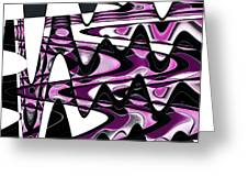 Retro Waves Abstract - Pink Greeting Card