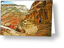 Return Trip On Hidden Canyon Trail In Zion National Park-utah Greeting Card