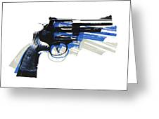 Revolver On White - Right Facing Greeting Card