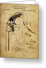 Revolving Fire Arm - Patented On 1885 Greeting Card