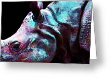 Rhino 1 - Rhinoceros Art Prints Greeting Card by Sharon Cummings