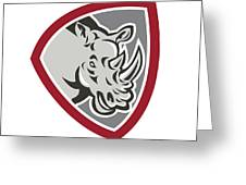 Rhinoceros Head Side Shield Greeting Card by Aloysius Patrimonio
