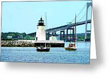 Rhode Island - Lighthouse Bridge And Boats Newport Ri Greeting Card