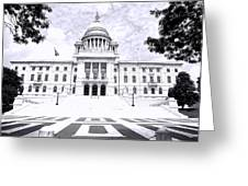 Rhode Island State House Bw Greeting Card