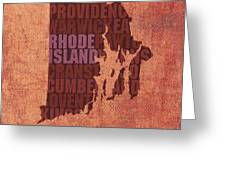 Rhode Island Word Art State Map On Canvas Greeting Card by Design Turnpike