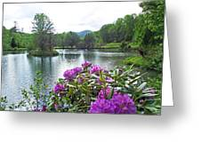 Rhododendron Blossoms And Mountain Pond Greeting Card