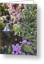 Rhododendron Flowers By Waterfall Greeting Card