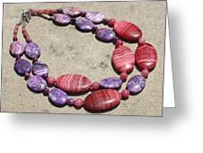 Rhodonite And Crazy Lace Agate Double Strand Chunky Necklace 3636 Greeting Card