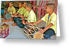 Rhythm Section In Traditional Thai Music Class  At Baan Konn Soong School In Sukhothai-thailand Greeting Card
