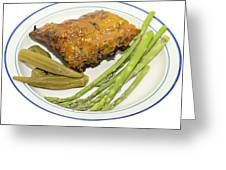 Ribs Plate With Vegetables Greeting Card