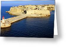 Ricasoli Breakwater At Valletta's Grand Harbor Greeting Card