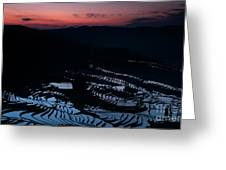 Rice Terrace After Sunset Greeting Card