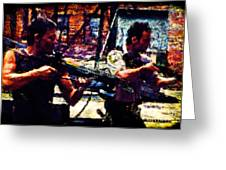 Rick And Daryl Clearing The Courtyard Greeting Card