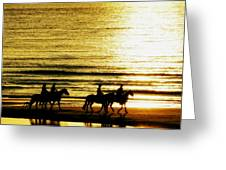 Rider Silhouettes Against The Sea Greeting Card