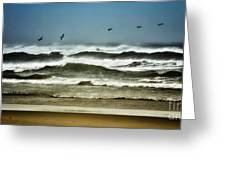 Riders On The Storm II - Outer Banks Greeting Card by Dan Carmichael