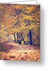 Riding A Bike In Autumn Greeting Card
