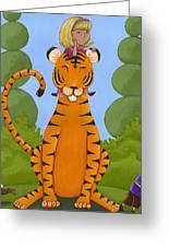 Riding A Tiger Greeting Card